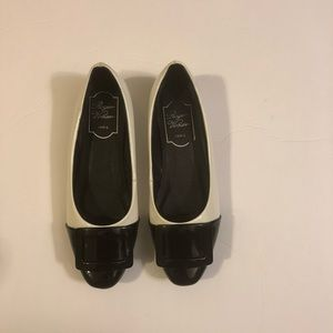 Rodgers virea Black and White baby wedge shoes 6